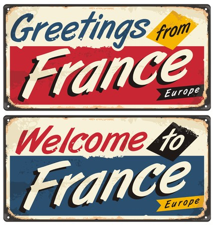 voyage: Welcome to France retro metal plate templates