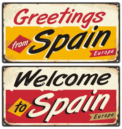 old postcards: Spain retro tin sign concept