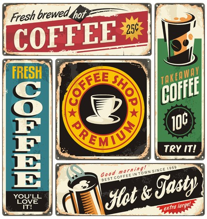 Coffee shop retro metal signs collection Stock Illustratie