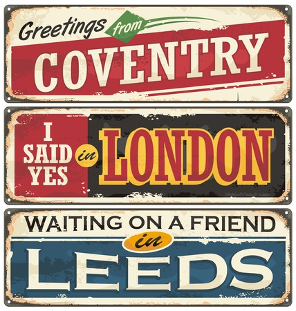 Vintage signs collection with places to visit in England