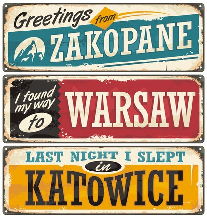 Poland cities and travel destinations Ilustracja