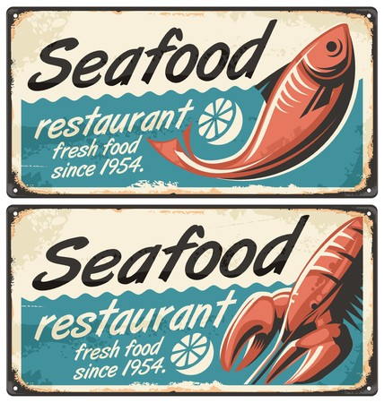 commercial kitchen: Seafood restaurant vintage signs