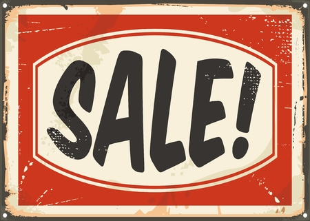 resale: Sale vintage tin sign. Promotional retro ad design. Illustration