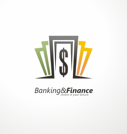 stylized banking: Banking and finance logo design layout with money bills and dollar sign.