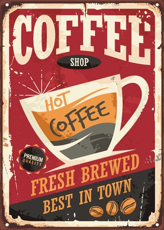 Coffee shop retro tin sign design with coffee cup on red background