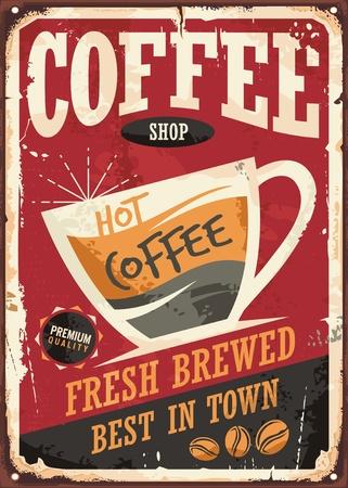 Kawiarnia retro znak blaszany projekt z filiżanką kawy na czerwonym tle