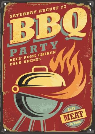 BBQ party retro sign design layout Illustration