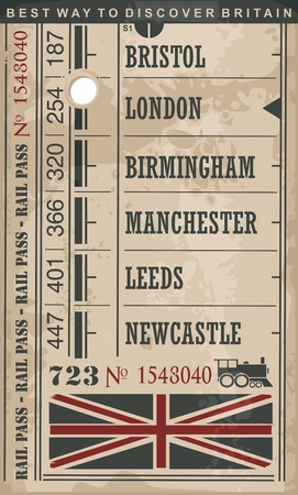 leeds: Train ticket retro vector illustration with England cities and popular destinations in Great Britain Illustration