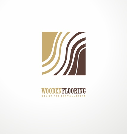 square image: Wooden flooring logo design concept with stylized tree rings in negative space