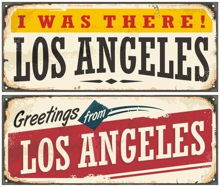 retro postcard: Los Angeles retro travel sign or postcard template Illustration