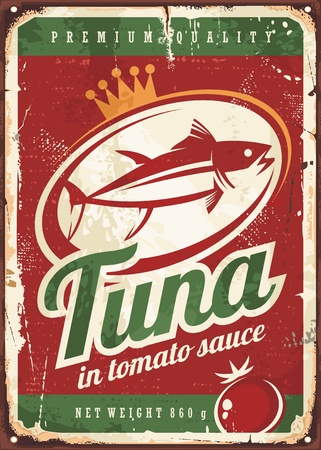 tuna fish: Tuna fish in tomato sauce vintage tin sign
