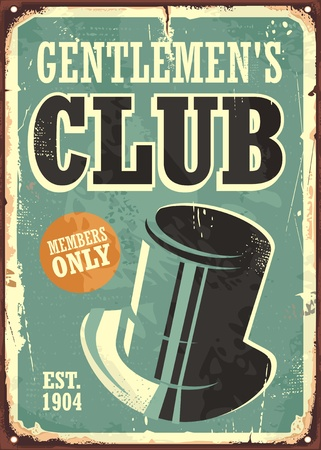 Gentlemen club retro poster design layout with hat on old metal texture