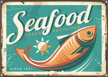 Seafood restaurant vintage style signpost design concept with fish illustration on turquoise blue background