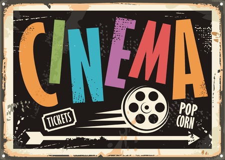 cinema film: Cinema vintage signboard design concept with colorful text and film roll on black