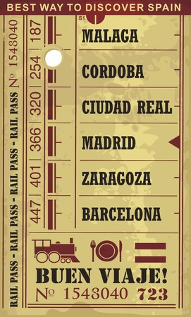 tours: Train ticket vector illustration in retro style with cities and popular destinations in Spain