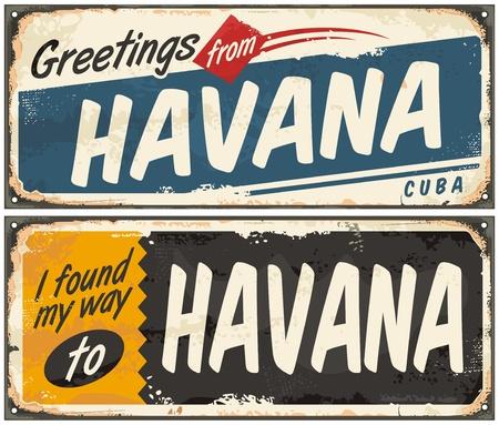 キューバのハバナのレトロなブリキ看板からのご挨拶