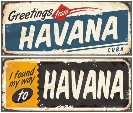 havana: Greetings from Havana Cuba retro tin signs Illustration