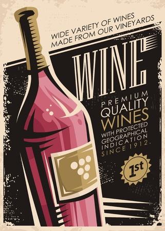 Wein Retro-Poster-Design mit Rotweinflasche auf altem Papier Hintergrund