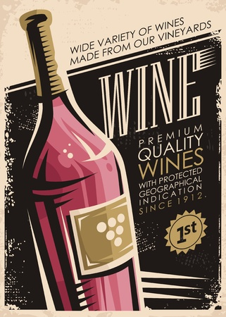 Wine retro poster design with red wine bottle on old paper background Ilustração