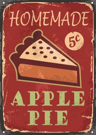 homemade cake: Apple pie old poster design Illustration