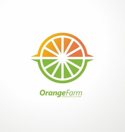 Orangenplantage kreative Konzept Logo-Design mit Orangenscheibe, Pflanzenfelder und Sonne Form in Negativraum Logo