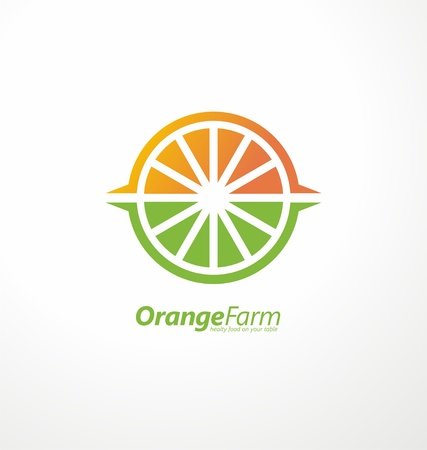 Orange plantation creative logo design concept with slice of orange, plant fields and sun shape in negative space