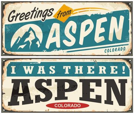 vintage travel: Aspen Colorado retro metal sign set with popular winter vacation destination