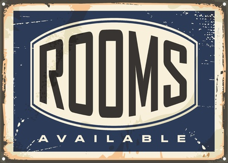 hotel rooms: Rooms available vintage hotel sign on old metal texture