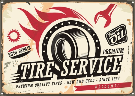Vintage tin sign for tire service with tire drawing and speed flames