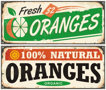 typo: Oranges vintage metal signs set with juicy fruit and creative typo for natural organic food