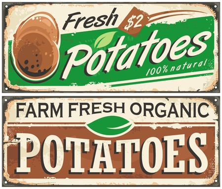 panneaux métalliques Retro serties ferme pommes de terre fraîches