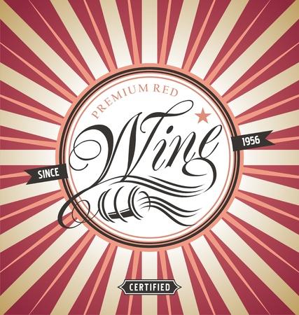 Red wine retro label design