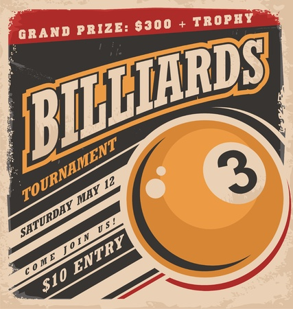 vintage sign: Billiards retro poster design layout