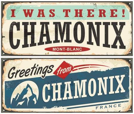 Chamonix Mont Blanc retro souvenir sign idea from one of the most popular winter holiday destinations Illustration