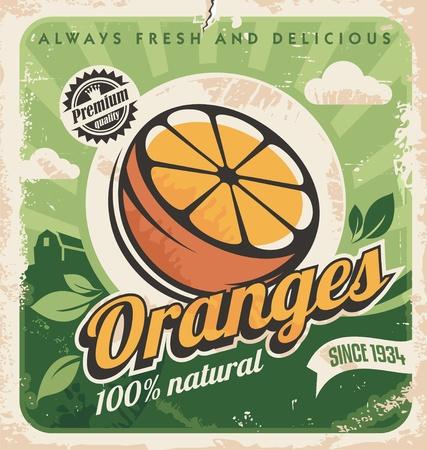 Vintage poster template for orange farm