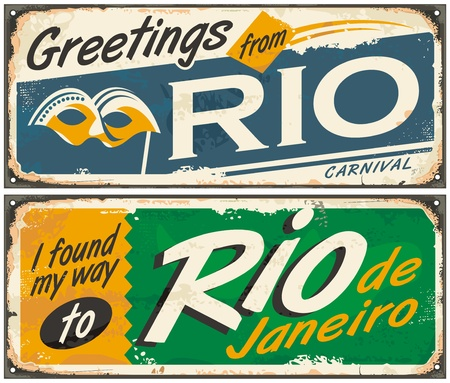 vintage poster: Rio de Janeiro, greetings from Brazil, retro tin signs set on old metal texture