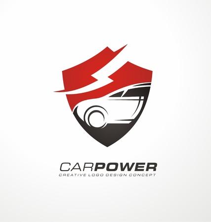 Auto logotipo eléctrica concepto de diseño