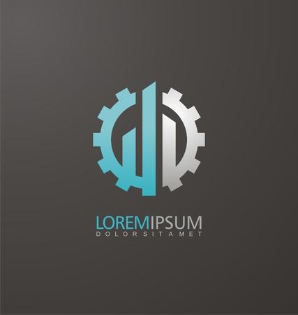 Constructie logo ontwerp idee met versnelling vorm en commerciële gebouwen