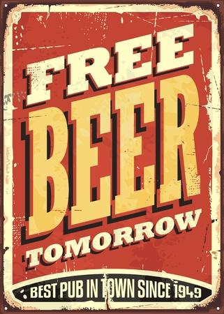Gratis bier morgen vintage blikken bord Stock Illustratie