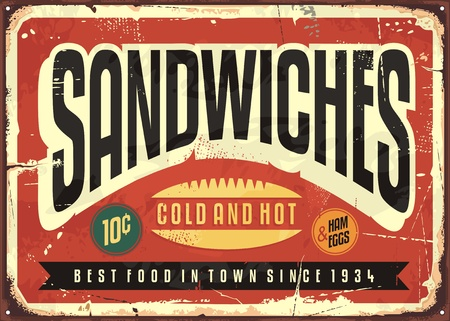 Retro food sign design for diner, restaurant or snack bar