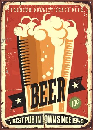 tin: Beer vintage tin sign Illustration