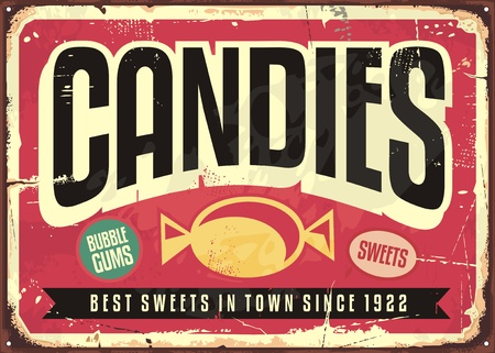 Candy shop retro advertisement on old metal  background