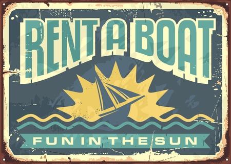rentals: Retro tin sign design for boat rentals Illustration