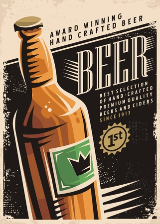 Beer retro poster layout with beer bottle and creative typography Çizim