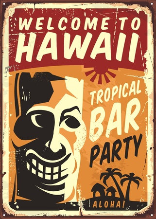 sign: Retro Hawaii metal sign for tropical bar Illustration