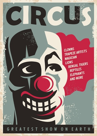 stage costume: Retro circus poster design template with clown portrait
