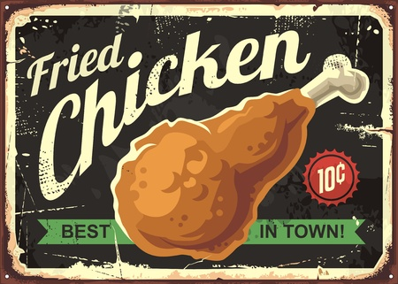 pollo frito diseño retro del signo