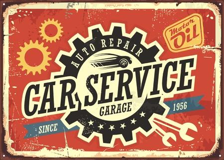 Auto service vintage blik teken ontwerp