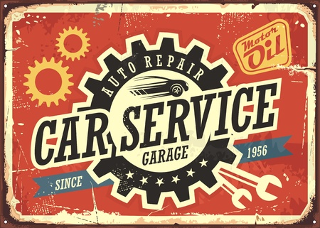 Car service vintage tin sign design 向量圖像