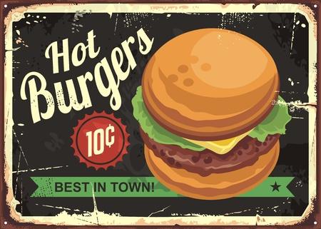 レトロな tin サイン デザインのハンバーガーをホットします。  イラスト・ベクター素材